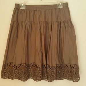 Cotton skirt with lace embroidery, size XS, S129